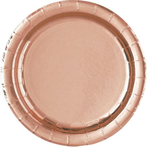 Paper Plate - Rose Gold Foil 21.9cm Round