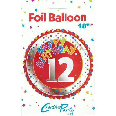 "Foil Balloon 18"" - 12th Birthday Red"