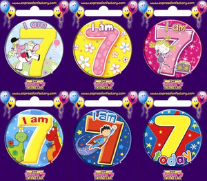 Badge - 7th Birthday 55mm Asstd