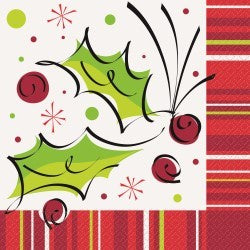 Printed Lunch Napkin 2 Ply - Christmas Holly Pop Pk 16