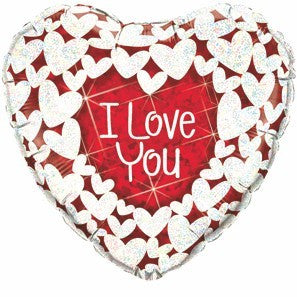 "Foil Balloon 36"" - I Love You Glitter Hearts"