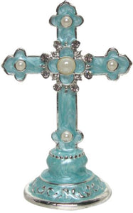 Diamante Cross Topper Ornaments with Silver Metallic Detail Blue 7.5cm(H)
