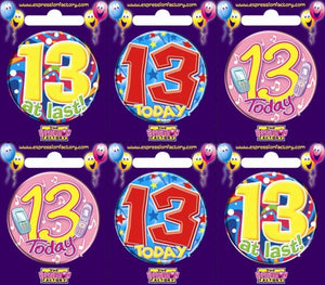 Badge - 13th Birthday 55mm Asstd