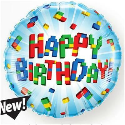 "Foil Balloon 18"" - Birthday Exploding Blocks"