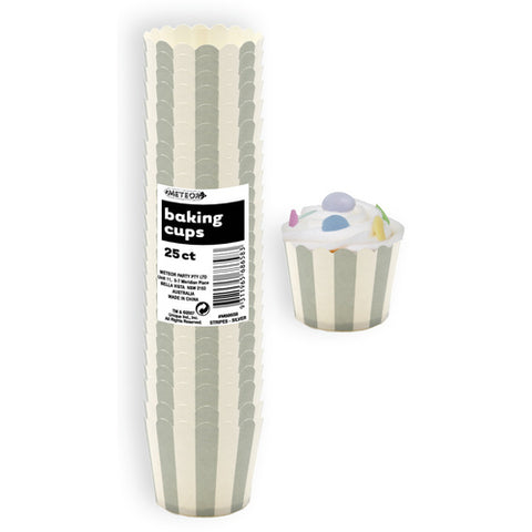 Cup Cake Baking Cups Stripe Silver
