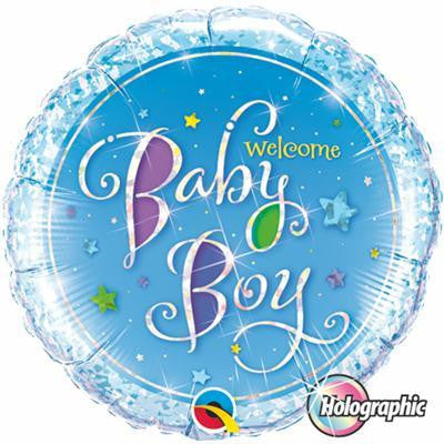 "Foil Balloon 18"" - Welcome Baby Boy Stars Holographic"