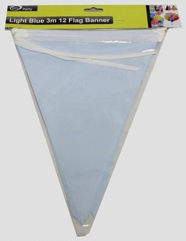 Bunting Flags - Light Blue Paper 3m