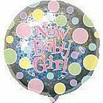 "Foil Balloon 18"" - Baby Girl Holographic Spots"