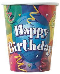 Printed Paper Cups - Happy Birthday Pk 8