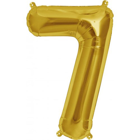 Foil Balloon 16'' - Number 7 Real Gold Package Only