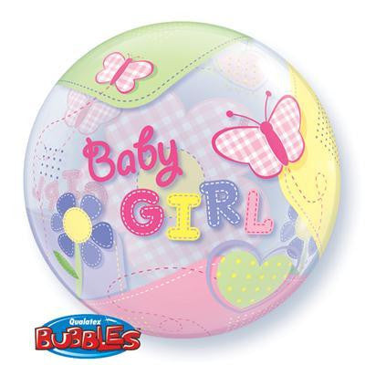 "Bubble Balloon 22"" - Baby Girl Butterflies"