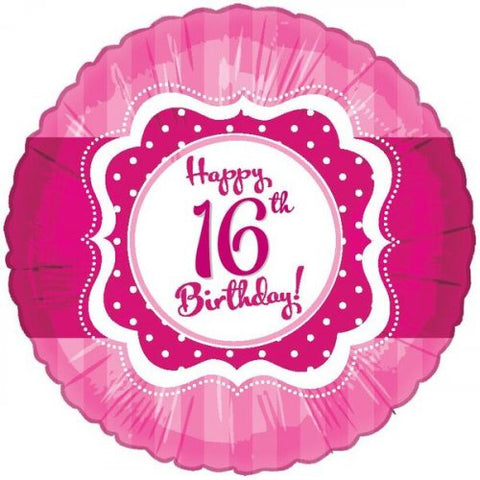 "Foil Balloon 17"" - Happy 16th Birthday Perfect Pink"
