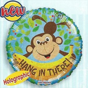 "Foil Balloon 18"" - Hang In There Monkey Holographic"