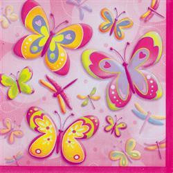 Printed Lunch Napkins 2Ply - Butterflies & Dragonflies Pk 16