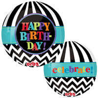 Foil Balloon Orbz - Dancing Lines Birthday