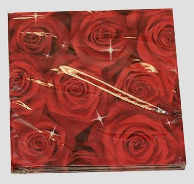 Printed Lunch Napkins - Red Roses Pk 20