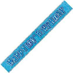Foil Banner - 100th Birthday Holographic (Blue)