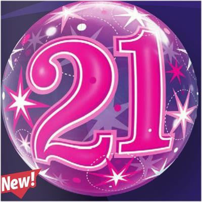 "Bubble Balloon 22"" - 21st Starburst Sparkle Pink"