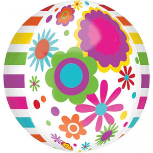 Foil Balloon Orbz - Flowers & Stripes
