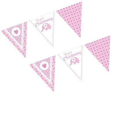 Bunting Flags - Christening Sweet Baby Elephant Pink