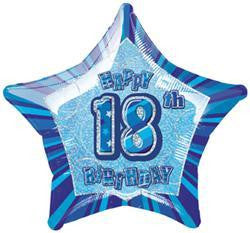 "Foil Balloon 20"" - 18th Birthday Blue Star"