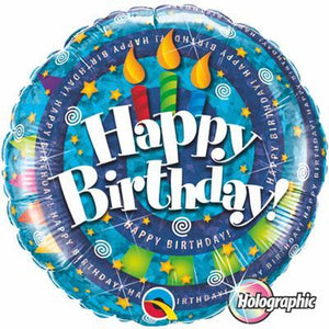 "Foil Balloon 18"" - Birthday Spiral & Candles Holographic"