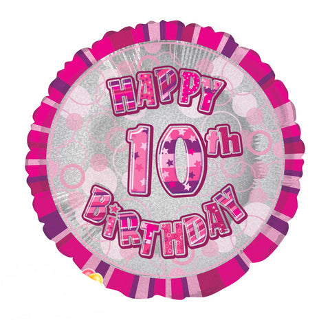 "Foil Balloons 18"" - Glitz Pink Happy 10th Birthday"