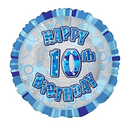 "Foil Balloons Unique 18"" Blue 10th"