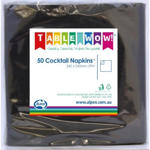Napkin Cocktail Black P50