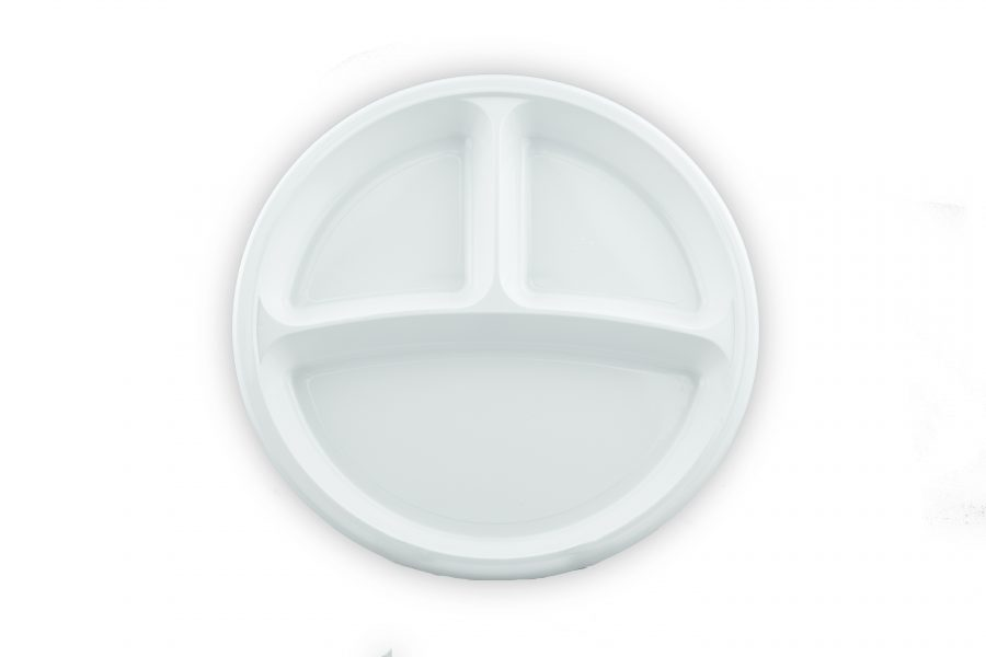 Plastic Plate - White 260mm With Compartment
