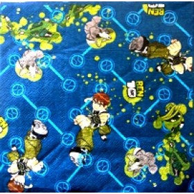 Printed Lunch Napkins 2Ply - Ben 10 Pk 6