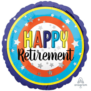 "Foil Balloon 18"" - Happy Retirement Colourful"