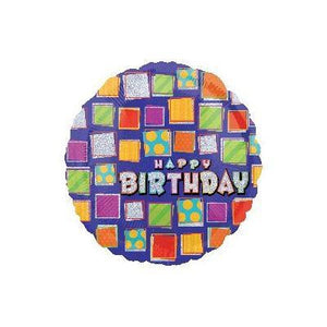 "Foil Balloon 18"" - Square Patterns Birthday Sparkles"