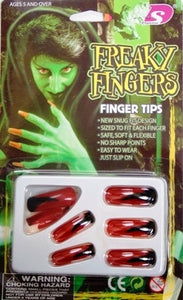 Finger Nails - Freaky Red w/Black 10 Pc