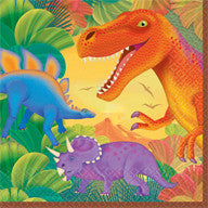 Printed Lunch Napkins 2Ply - Prehistoric Party Dinosaurs Pk 16