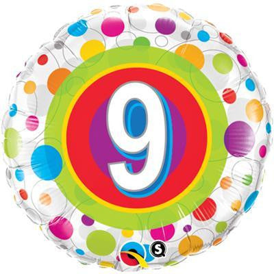 "Foil Balloon 18"" - 9th Birthday Colourful Dots"