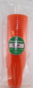 Plastic Cups - Orange Pk 25