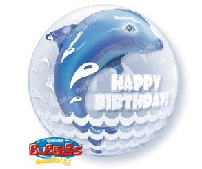 "Double Bubble Balloon 24"" - Birthday Dolphin"