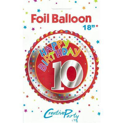 "Foil Balloon 18"" - 10th Birthday Red"