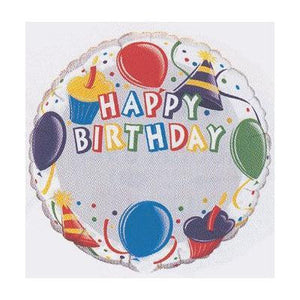 "Foil Balloon 18"" - Birthday Cupcakes Add-a-Name"