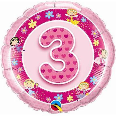 "Foil Balloon 18"" - 3rd Birthday Pink"