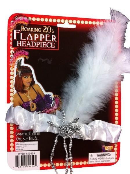 Headband - 20s Flapper w/Feather (White)