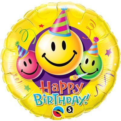 "Foil Balloon 18"" - Birthday Smiley Faces"