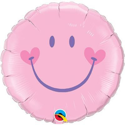 "Foil Balloon 18"" - Sweet Smiley Face Light Pink"