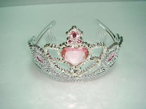 Tiara - Silver with Pink Heart Gem