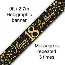 Banner - Happy 18th Birthday Holographic Black & Gold