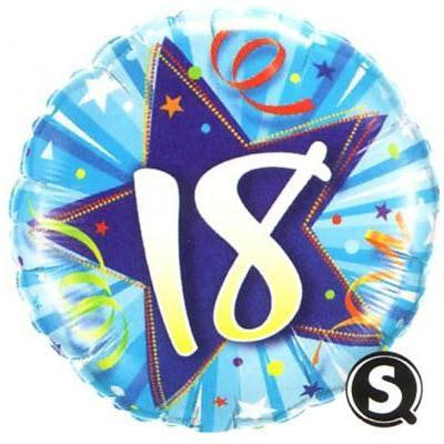 "Foil Balloon 18"" - 18th Birthday Shining Star Blue"
