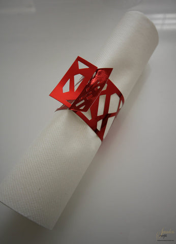 Napkin Wraps - Weave Red Foil Pk 8