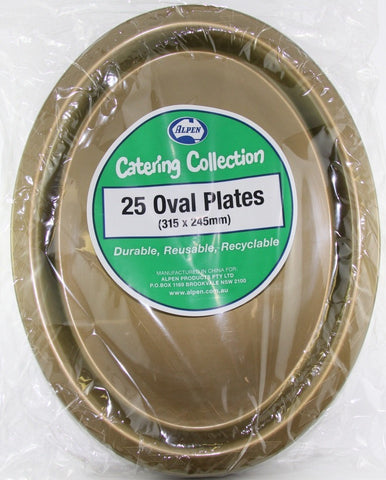 Plastic Buffet Plates Oval - Gold Pk 25