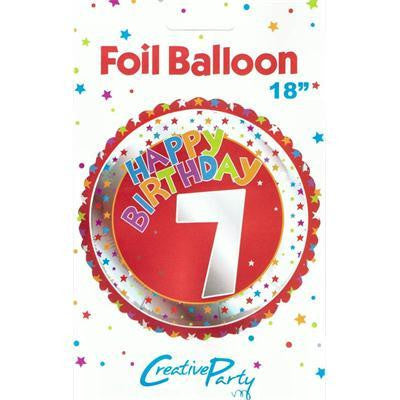 "Foil Balloon 18"" - 7th Birthday Red"